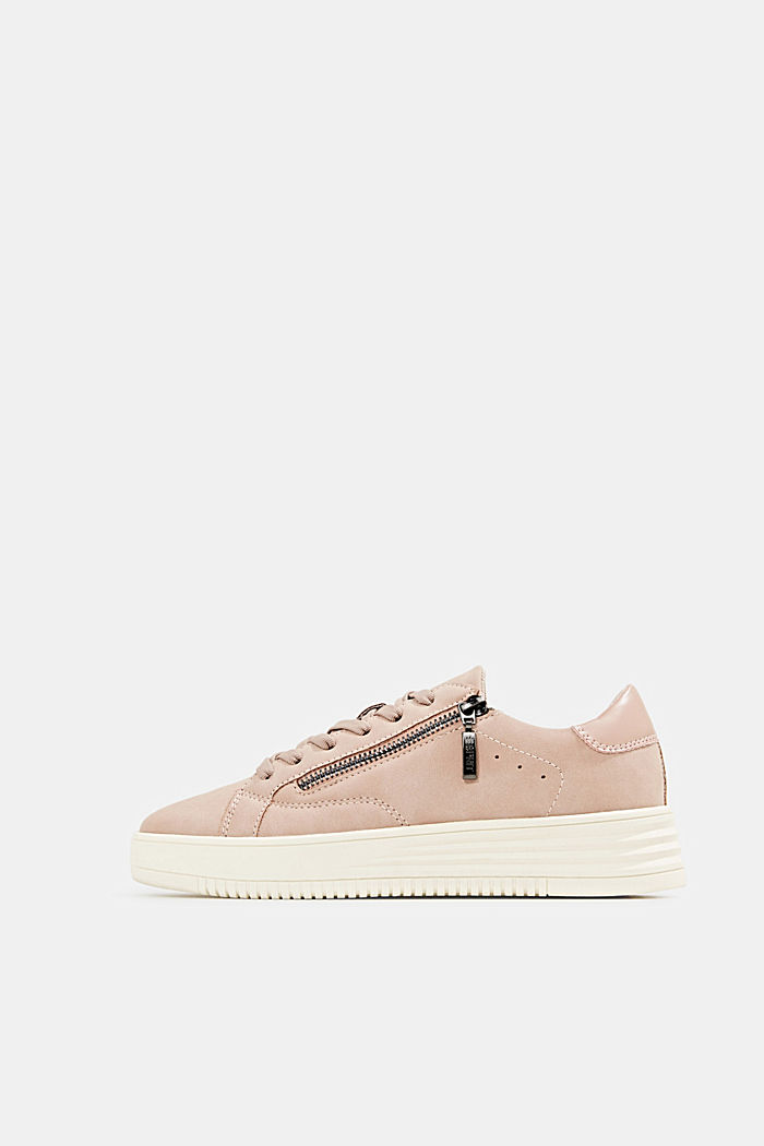 Sneaker in Leder-Optik mit breiter Sohle, DUSTY NUDE, overview