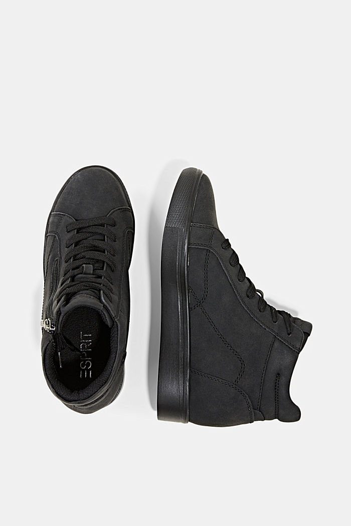 Sneakers in leerlook met sleehak, BLACK, detail image number 1