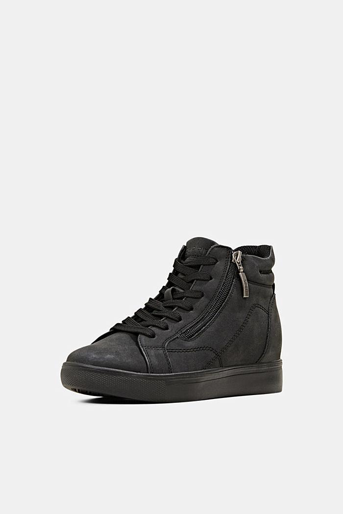 Sneakers in leerlook met sleehak, BLACK, detail image number 2