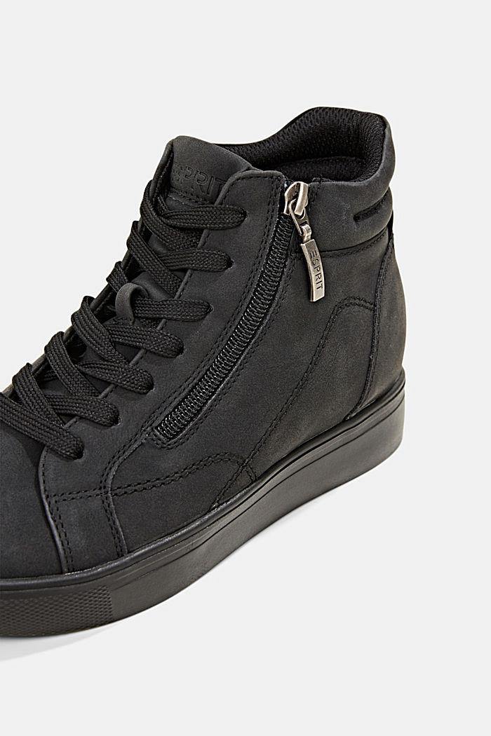 Sneakers in leerlook met sleehak, BLACK, detail image number 4