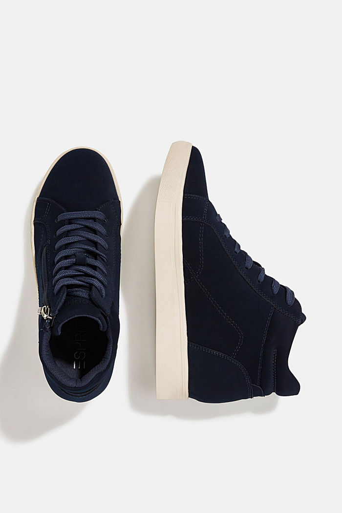 Sneakers à talons compensés en similicuir, NAVY, detail image number 1