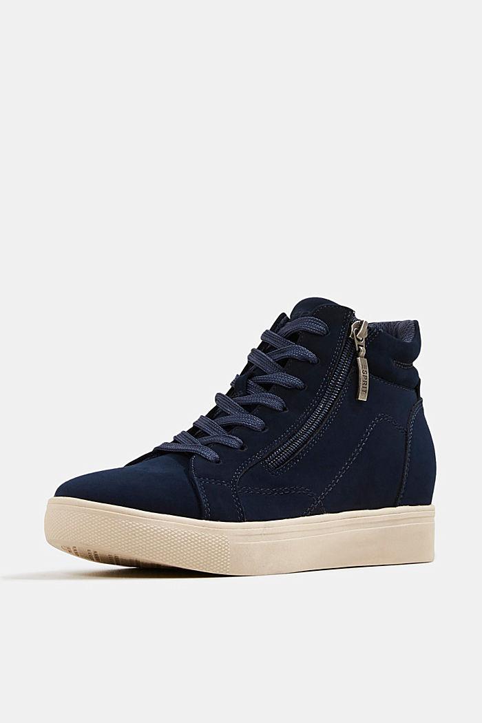 Sneakers à talons compensés en similicuir, NAVY, detail image number 2