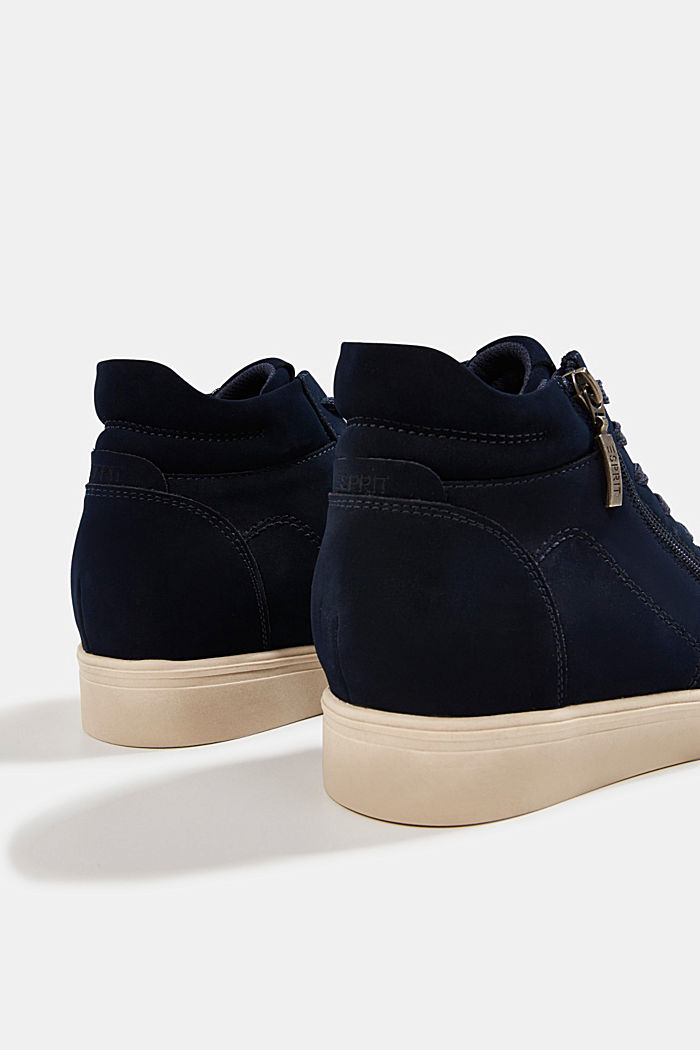 Wedge trainers in faux leather, NAVY, detail image number 5