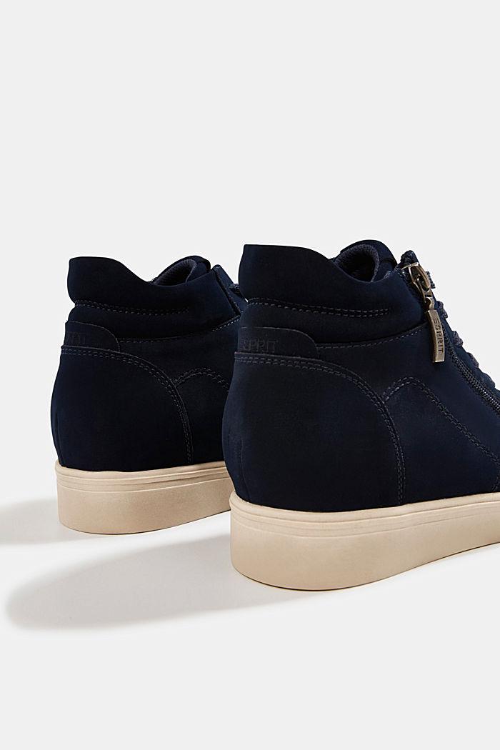 Sneakers à talons compensés en similicuir, NAVY, detail image number 5