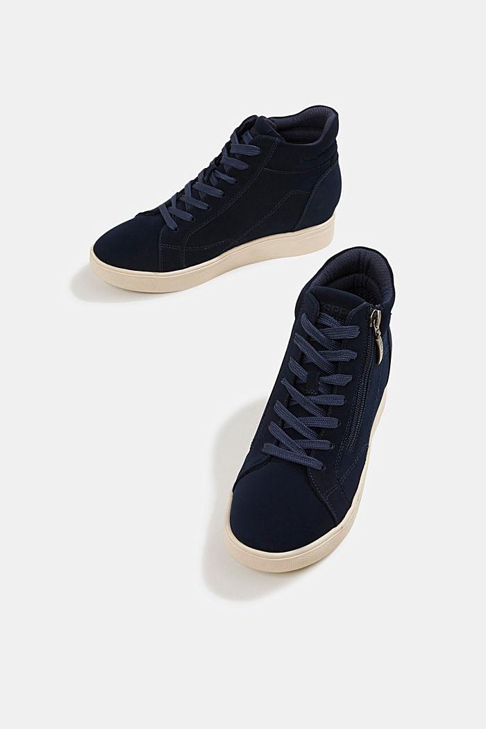 Sneakers à talons compensés en similicuir, NAVY, detail image number 6