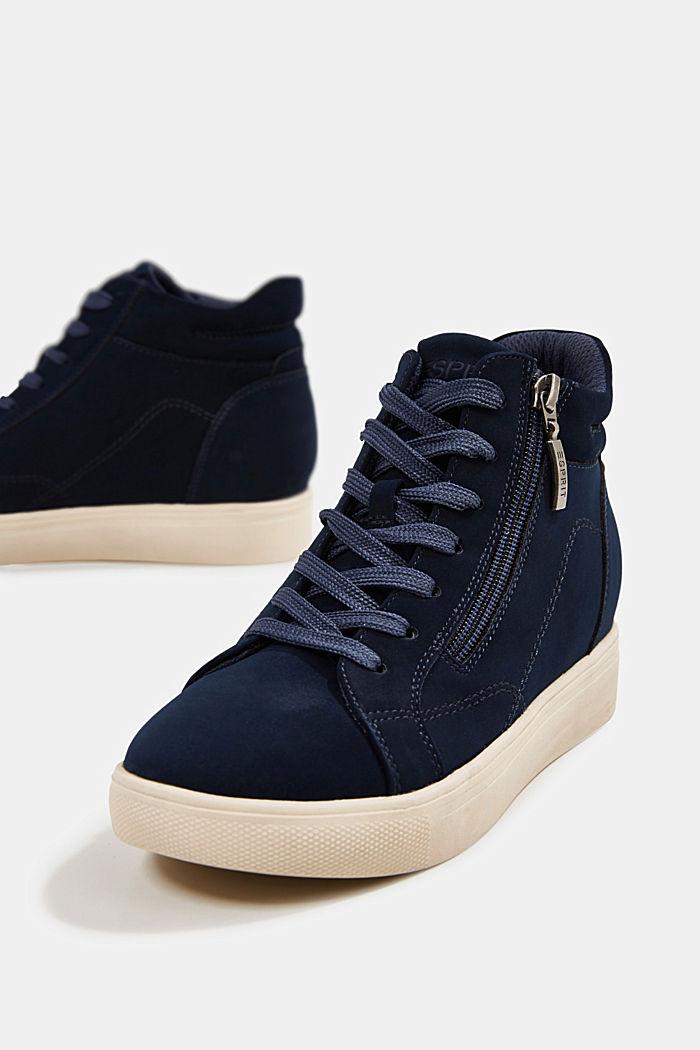 Sneakers à talons compensés en similicuir, NAVY, detail image number 4