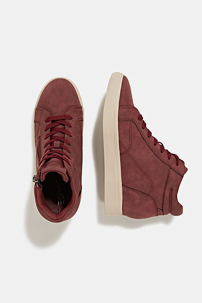 Wedge trainers in faux leather, BORDEAUX RED, detail image number 1