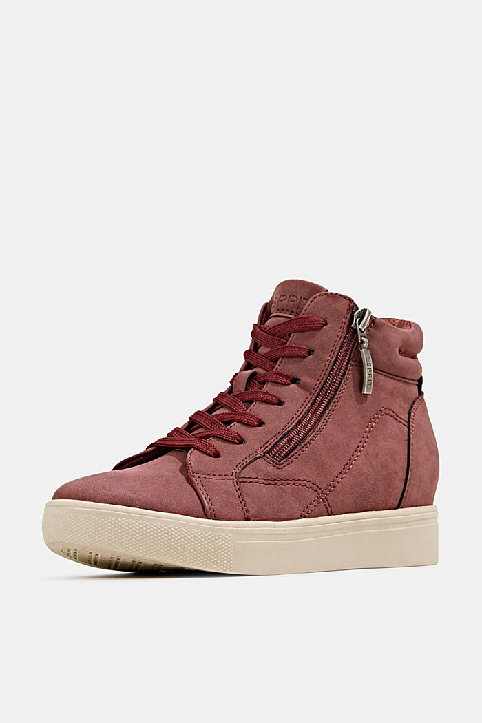 Wedge trainers in faux leather, BORDEAUX RED, detail image number 2