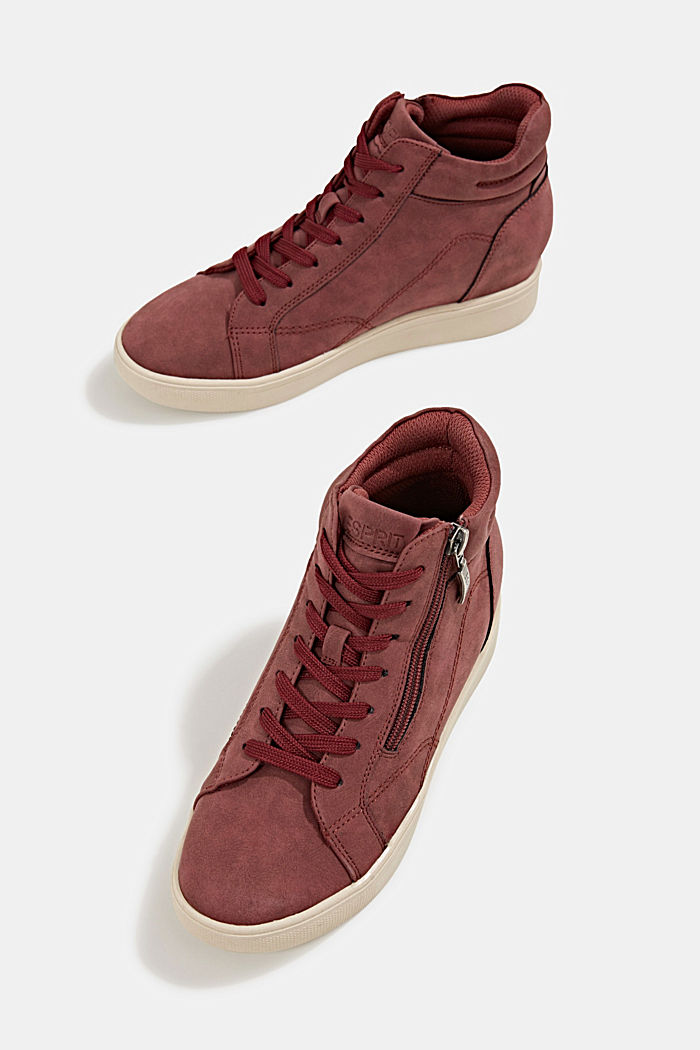 Wedge trainers in faux leather, BORDEAUX RED, detail image number 6