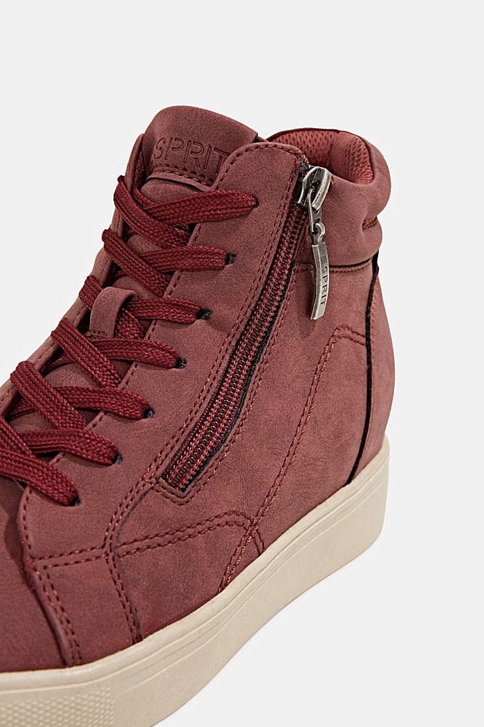 Wedge trainers in faux leather, BORDEAUX RED, detail image number 4