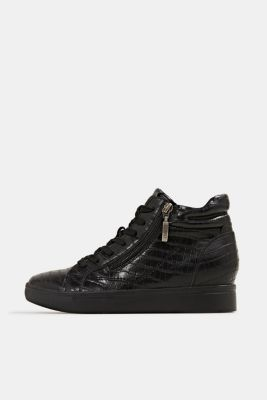 Wedge trainers in faux leather, BLACK, detail