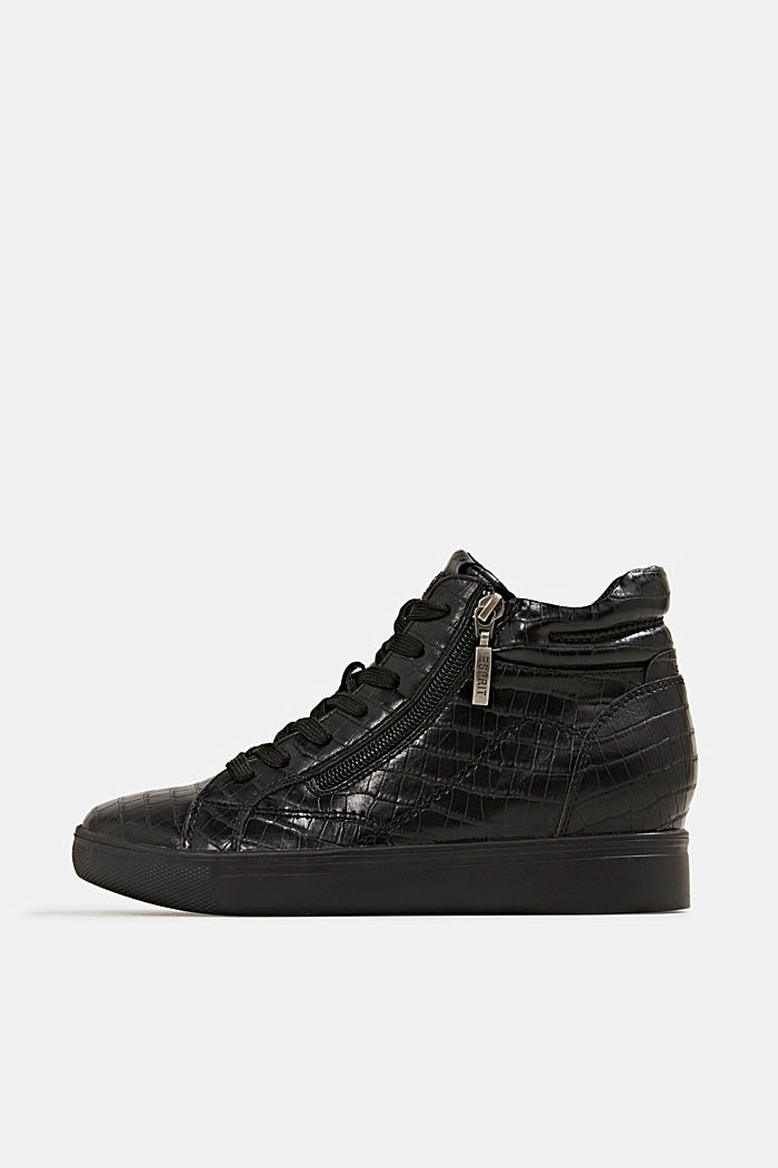 Wedge trainers in faux leather, BLACK, detail image number 0