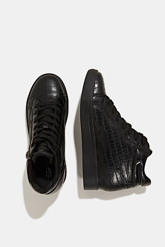 Wedge trainers in faux leather, BLACK, detail image number 1