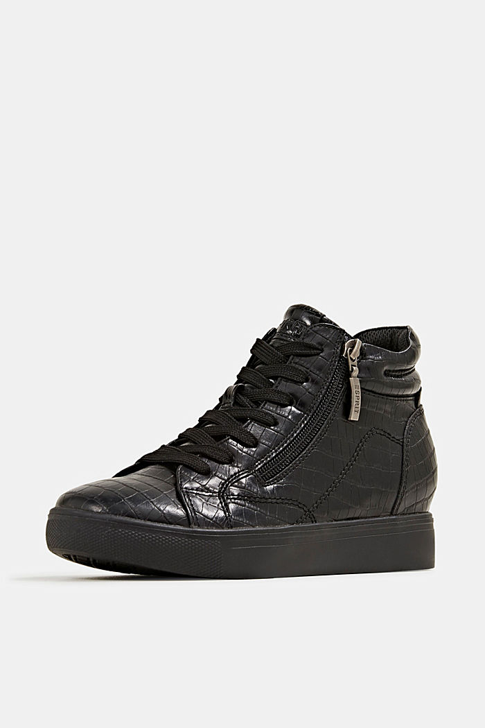 Wedge trainers in faux leather, BLACK, detail image number 2