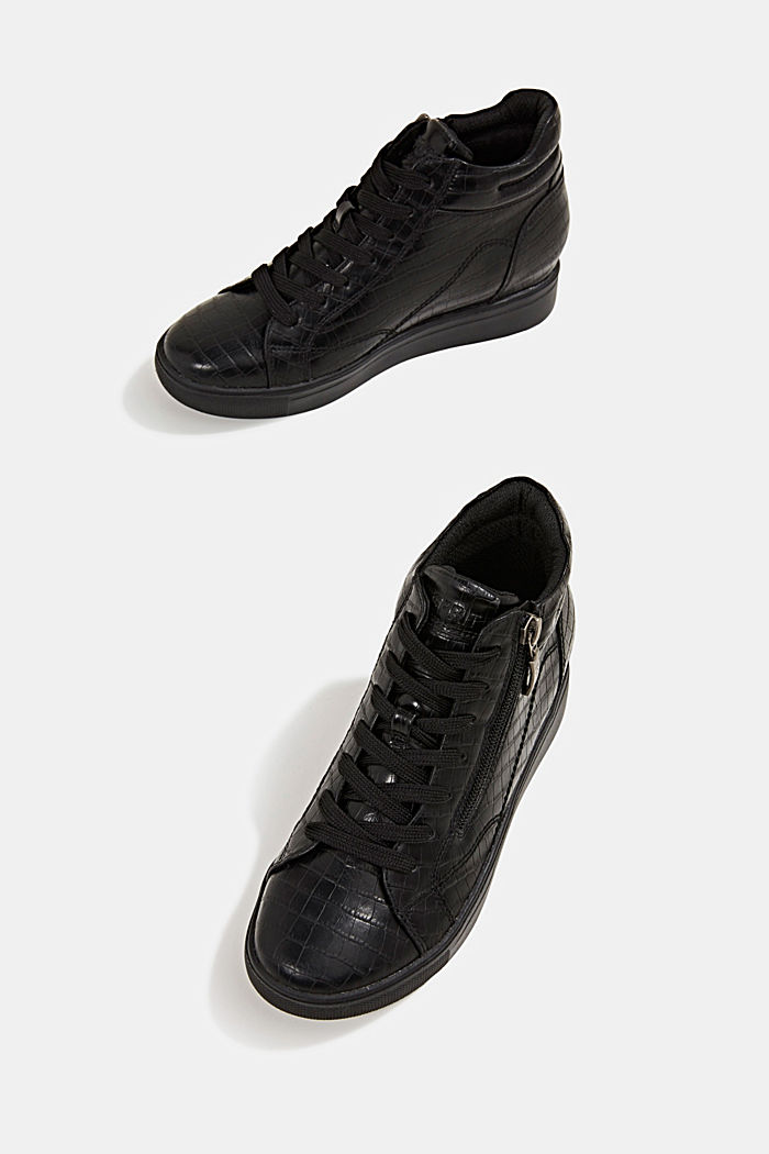 Wedge trainers in faux leather, BLACK, detail image number 6
