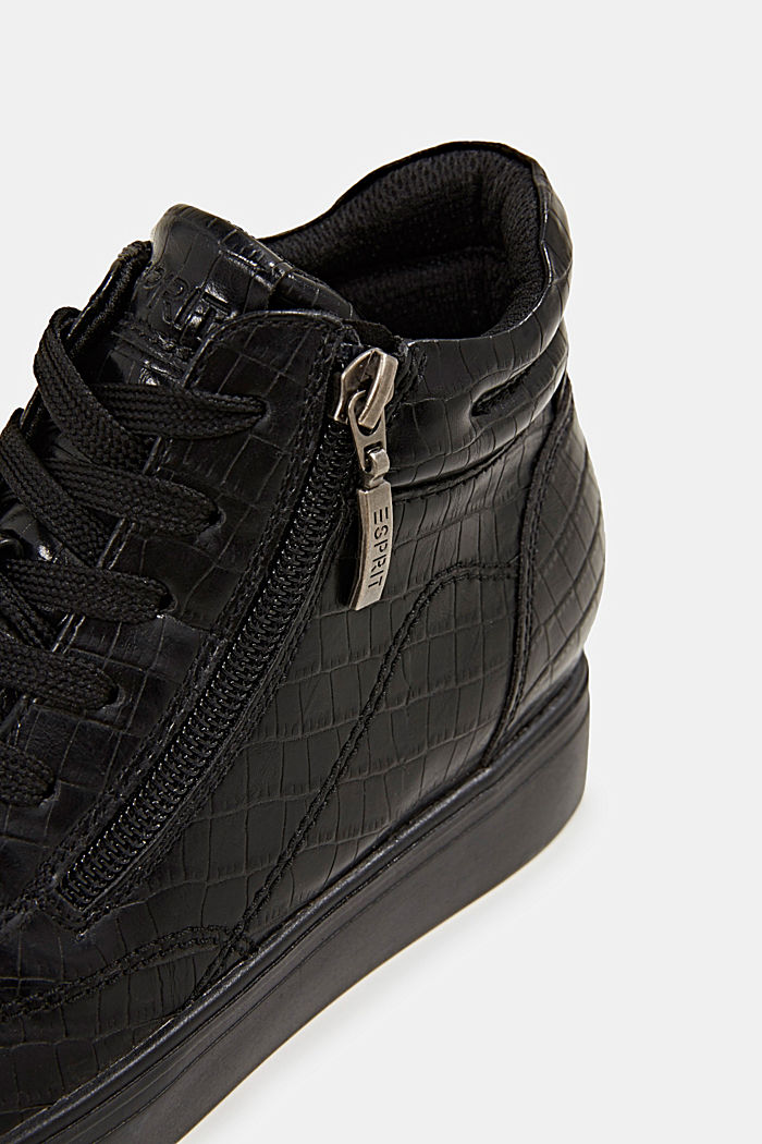 Wedge trainers in faux leather, BLACK, detail image number 4