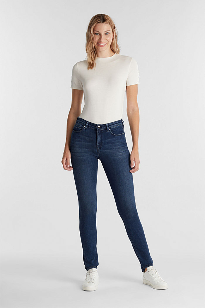 Business jeans with organic cotton, BLUE MEDIUM WASHED, detail image number 1