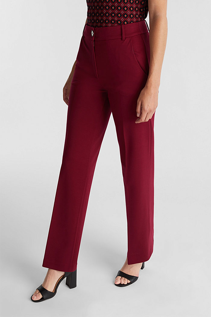 Recycled: PUNTO Mix & Match trousers, BORDEAUX RED, detail image number 0