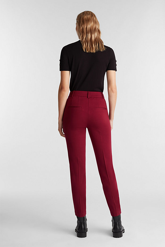 Recycled: PUNTO Mix & Match trousers, BORDEAUX RED, detail image number 3