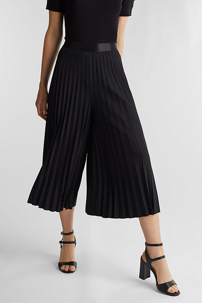 Recycled: culottes with pleats, BLACK, detail image number 0