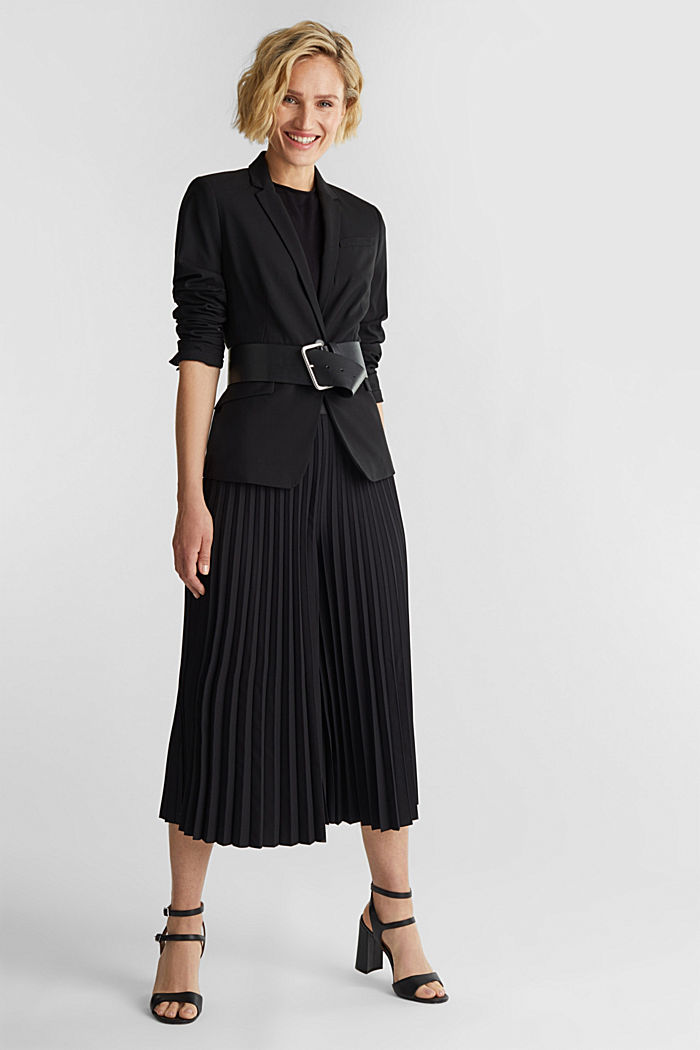 Recycled: culottes with pleats, BLACK, detail image number 1