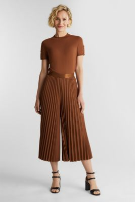 Recycled: culottes with pleats, TOFFEE, detail