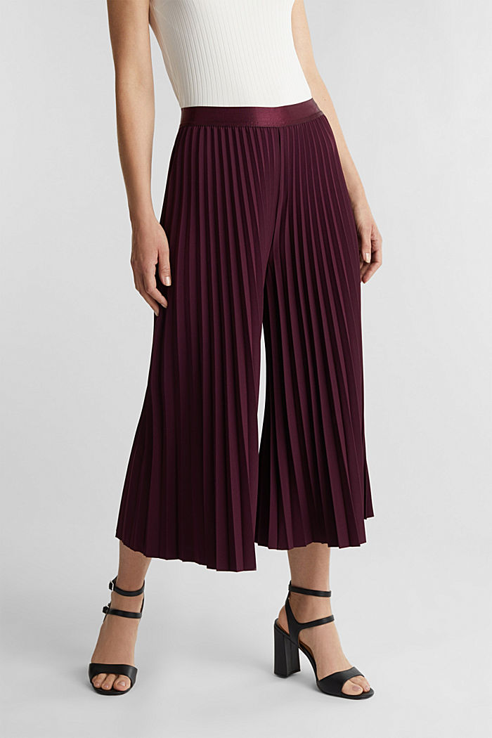 Recycled: culottes with pleats, BORDEAUX RED, detail image number 0