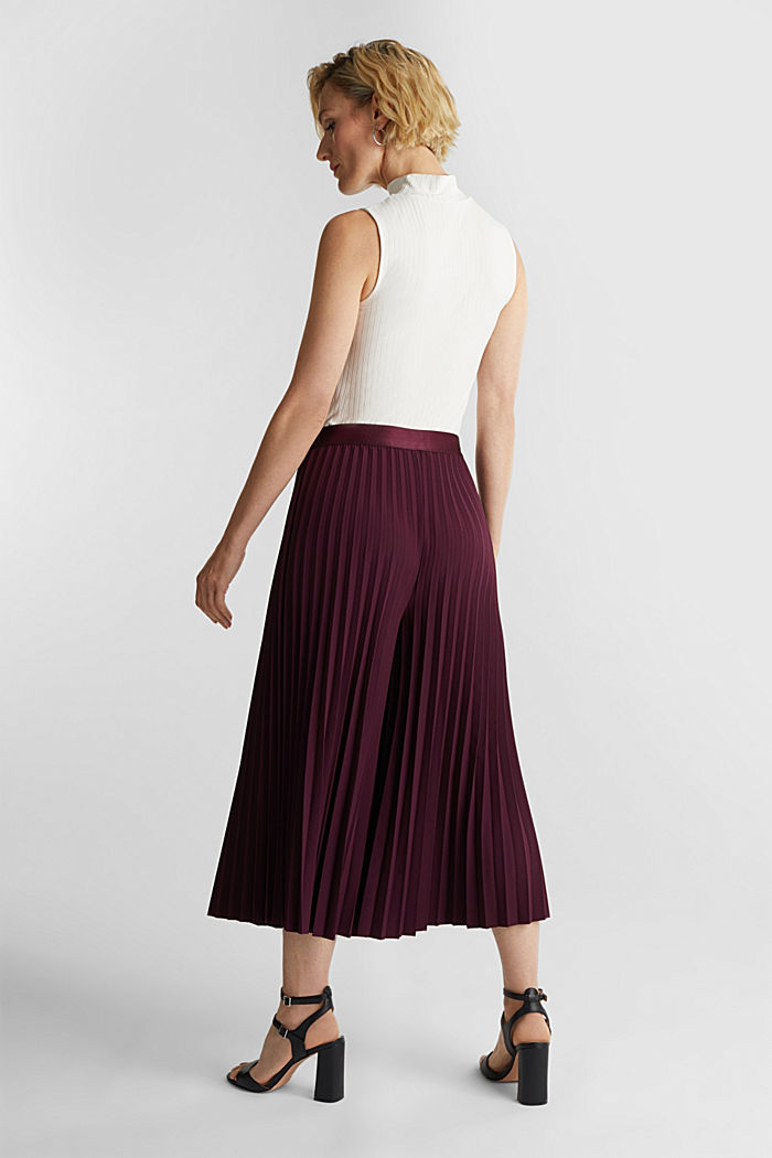 Recycled: culottes with pleats, BORDEAUX RED, detail image number 3