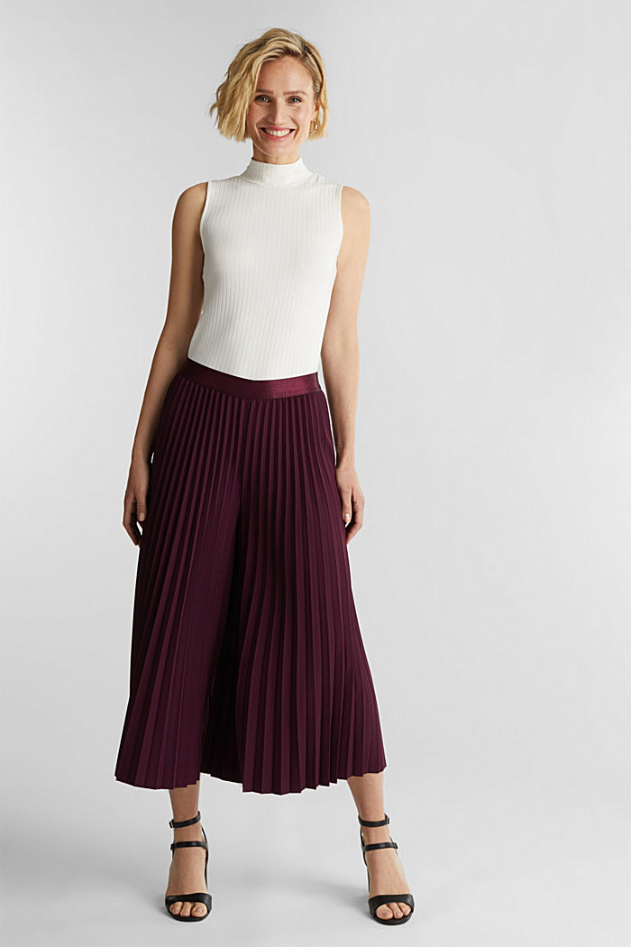 Recycled: culottes with pleats, BORDEAUX RED, detail image number 1