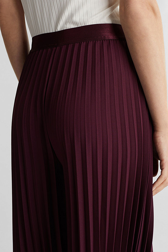 Recycled: culottes with pleats, BORDEAUX RED, detail image number 5