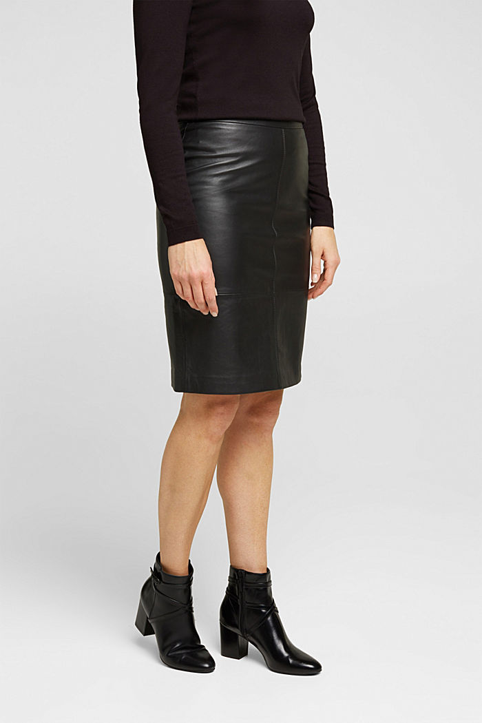 Pencil skirt made of 100% leather, BLACK, detail image number 0