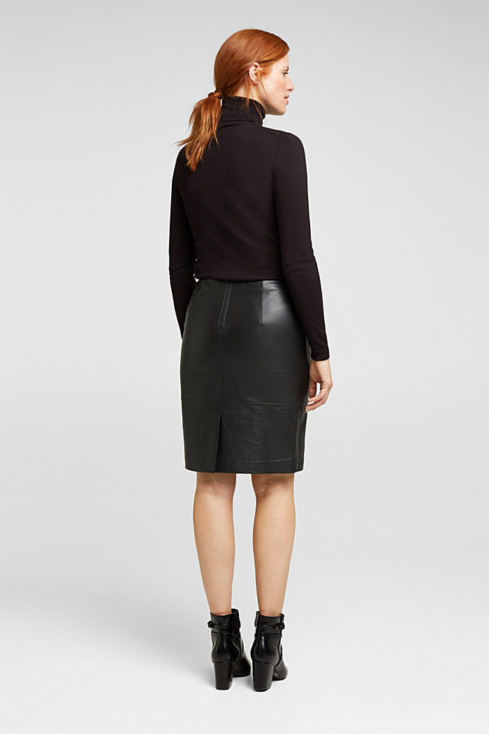 Pencil skirt made of 100% leather, BLACK, detail image number 3