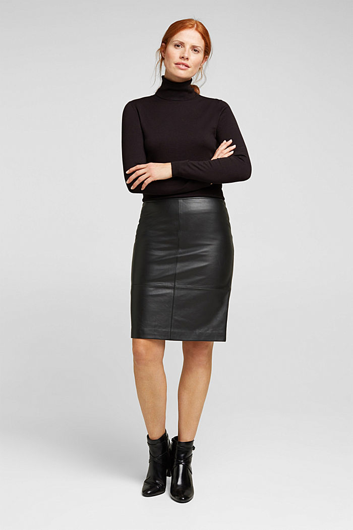 Pencil skirt made of 100% leather, BLACK, detail image number 6