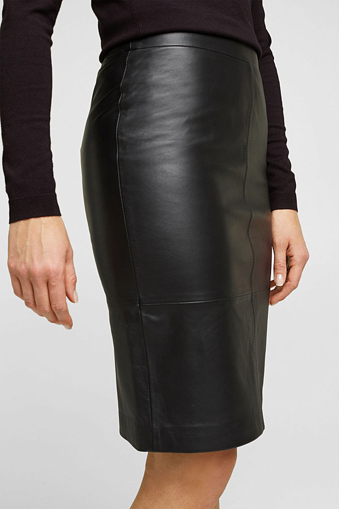 Pencil skirt made of 100% leather, BLACK, detail image number 2