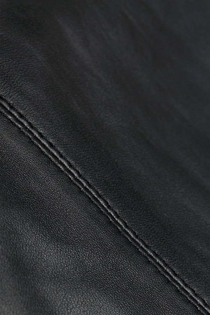 Pencil skirt made of 100% leather, BLACK, detail image number 4