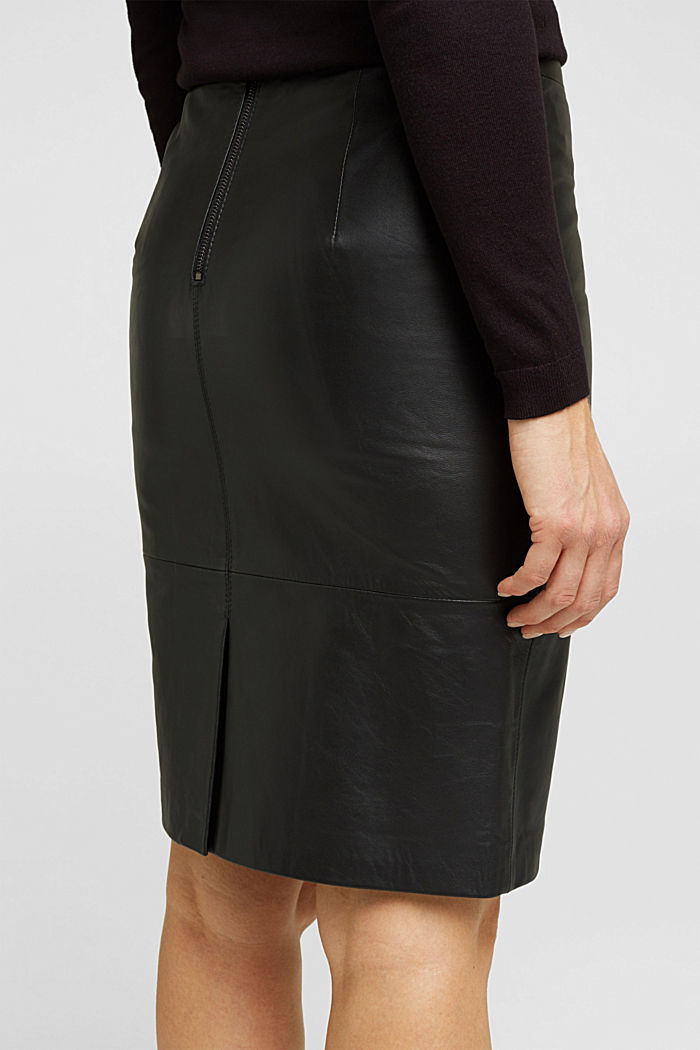 Pencil skirt made of 100% leather, BLACK, detail image number 5
