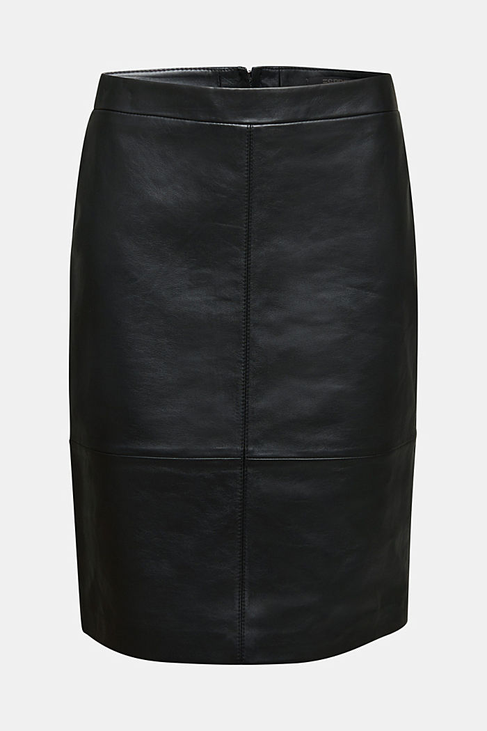 Pencil skirt made of 100% leather, BLACK, detail image number 7