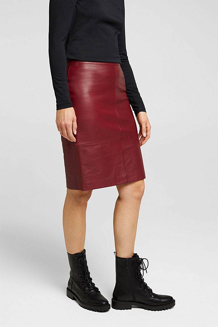 Pencil skirt made of 100% leather, BORDEAUX RED, detail image number 0