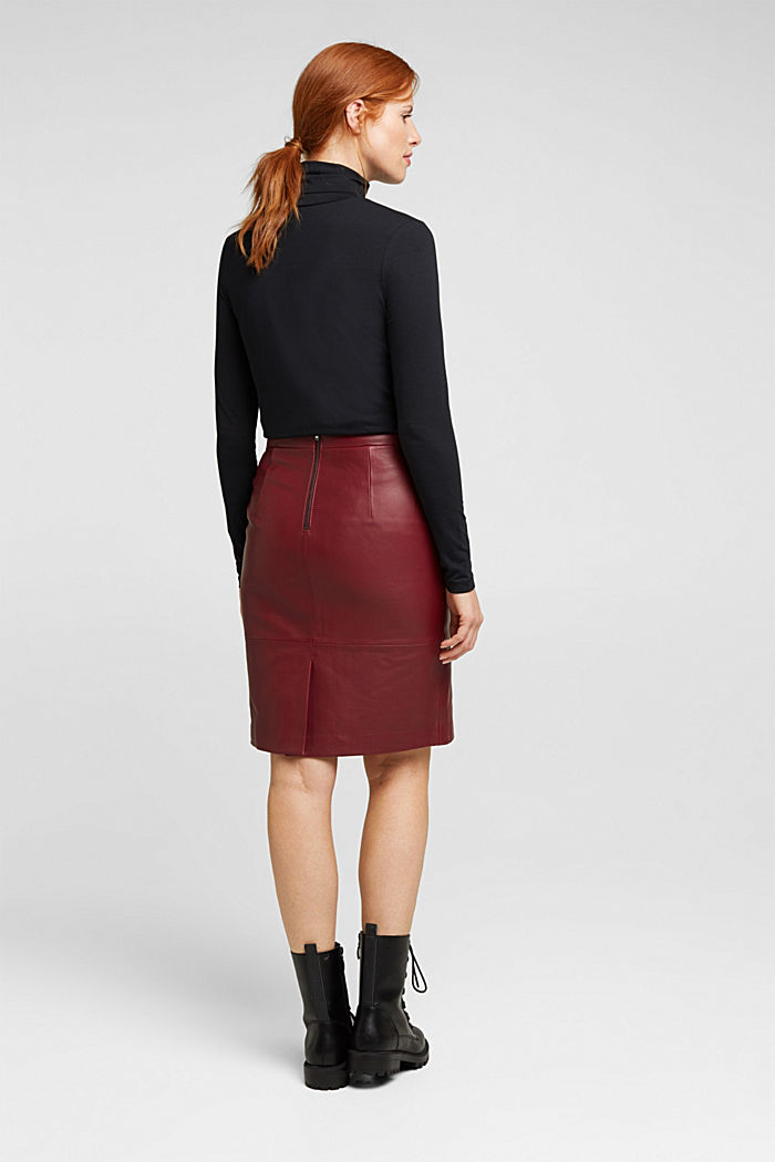 Pencil skirt made of 100% leather, BORDEAUX RED, detail image number 3