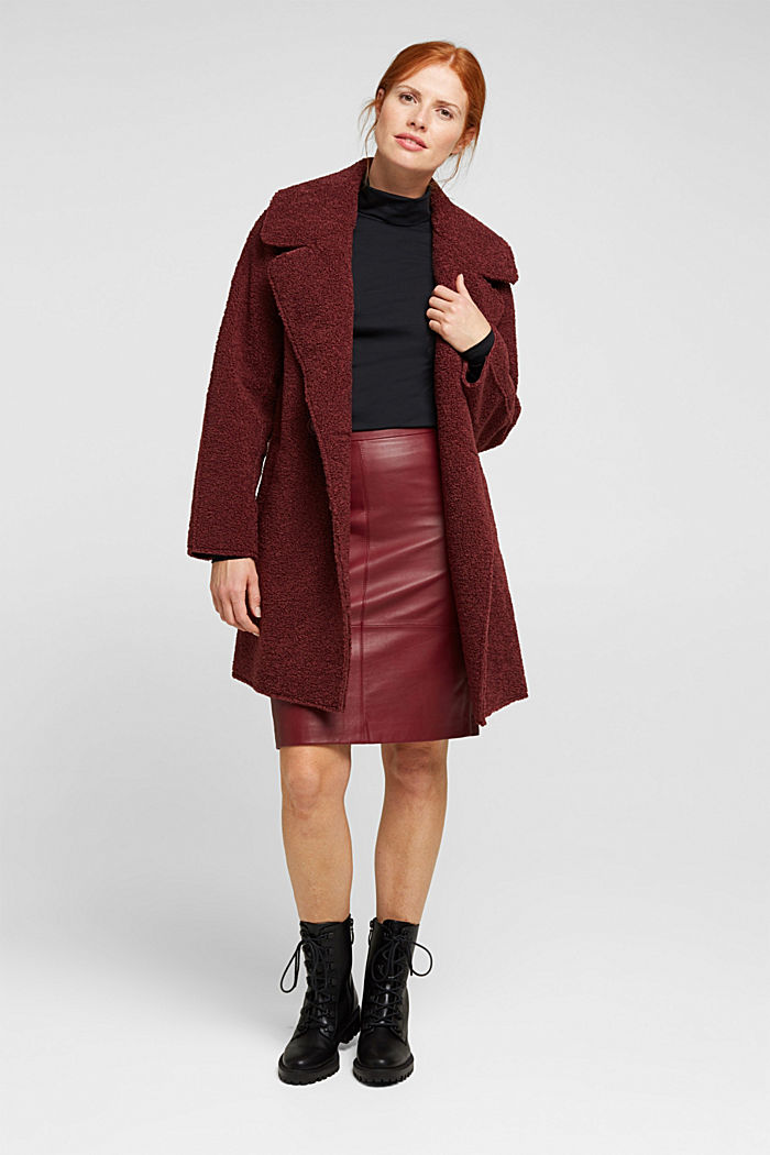 Pencil skirt made of 100% leather, BORDEAUX RED, detail image number 1