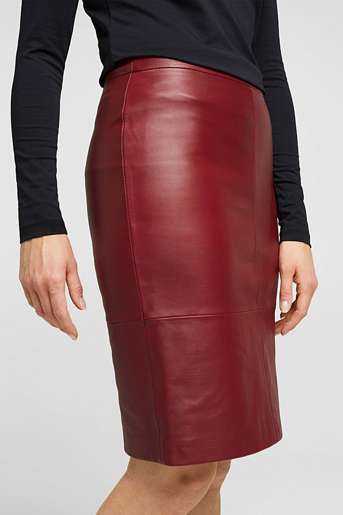 Pencil skirt made of 100% leather, BORDEAUX RED, detail image number 2