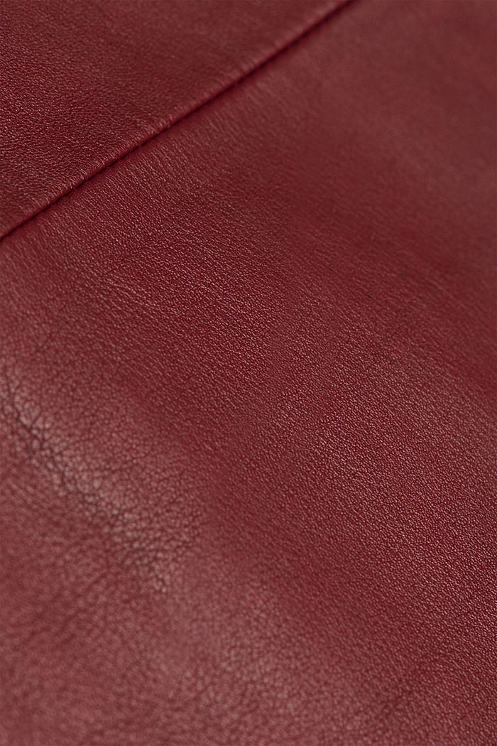 Pencil skirt made of 100% leather, BORDEAUX RED, detail image number 4