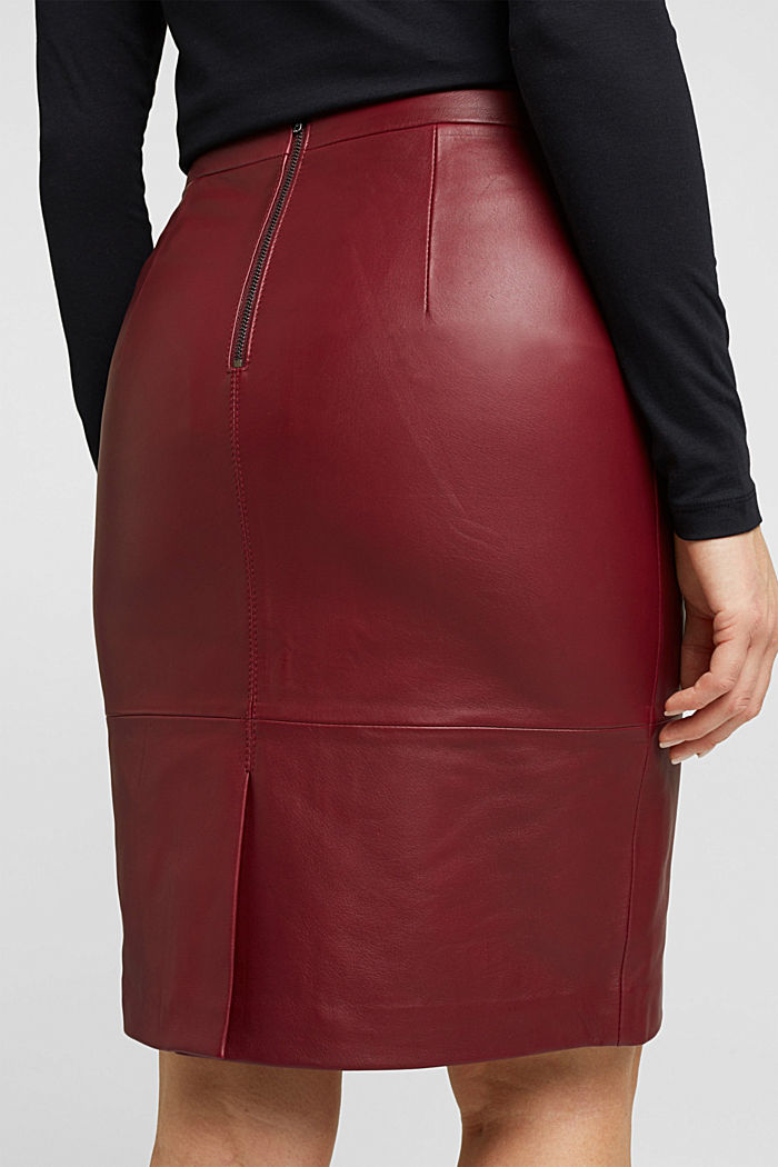 Pencil skirt made of 100% leather, BORDEAUX RED, detail image number 5