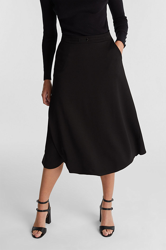 Midi-skirt made of textured jersey, BLACK, detail image number 0