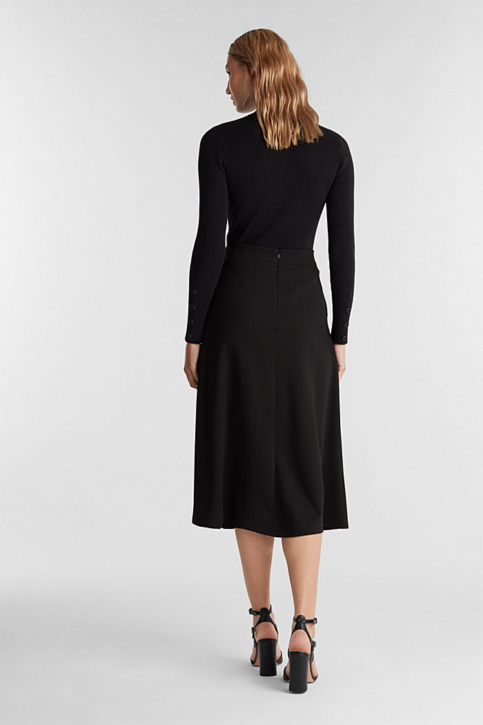Midi-skirt made of textured jersey, BLACK, detail image number 3