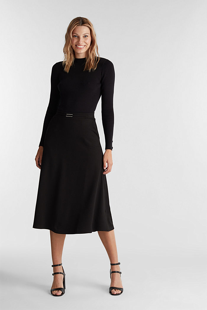 Midi-skirt made of textured jersey, BLACK, detail image number 1