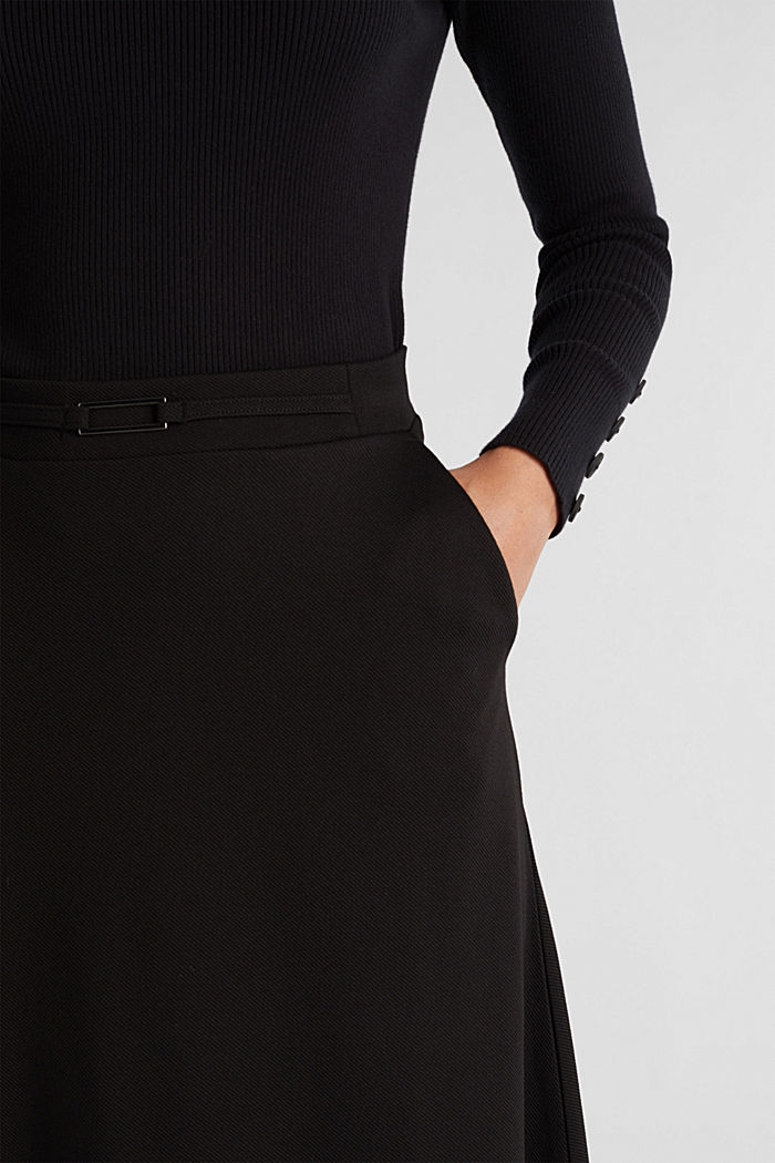 Midi-skirt made of textured jersey, BLACK, detail image number 2