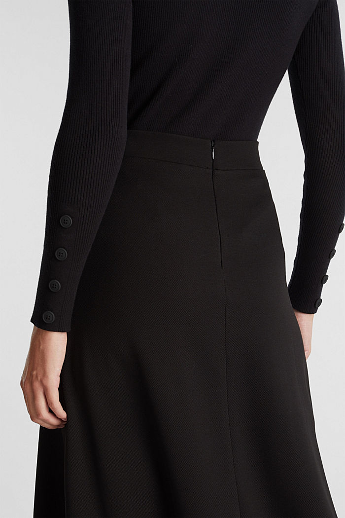 Midi-skirt made of textured jersey, BLACK, detail image number 5