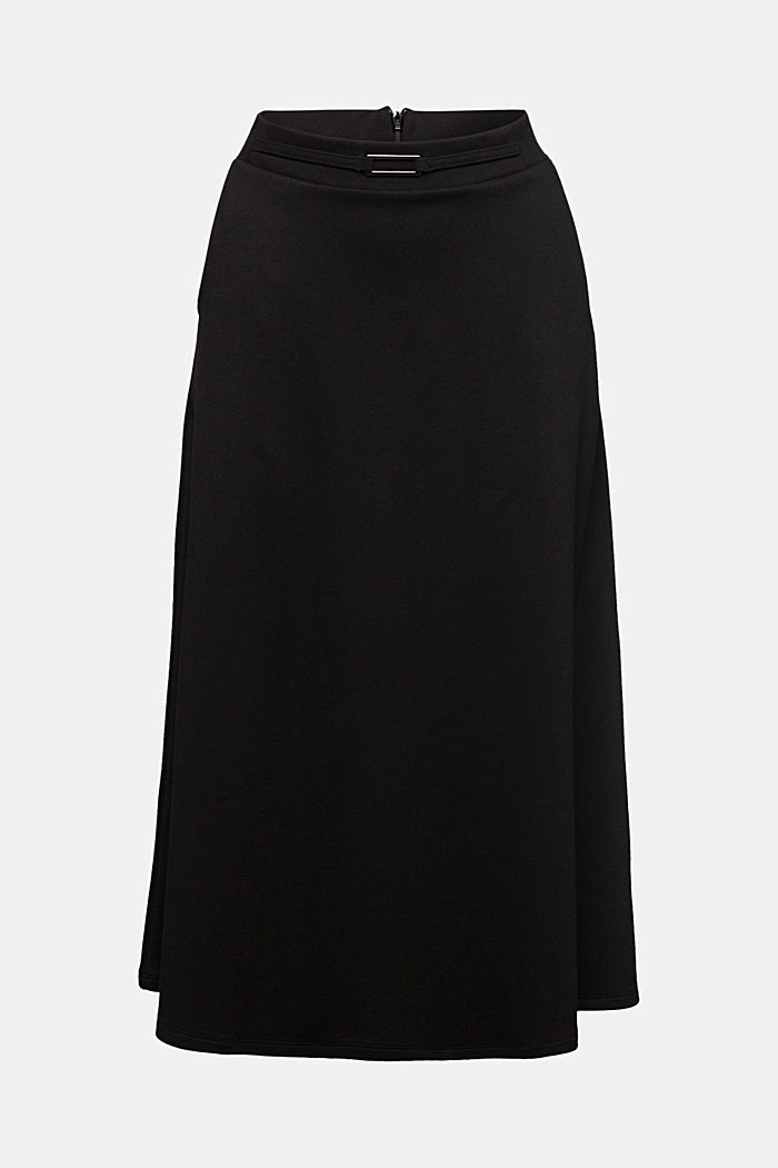 Midi-skirt made of textured jersey, BLACK, detail image number 6