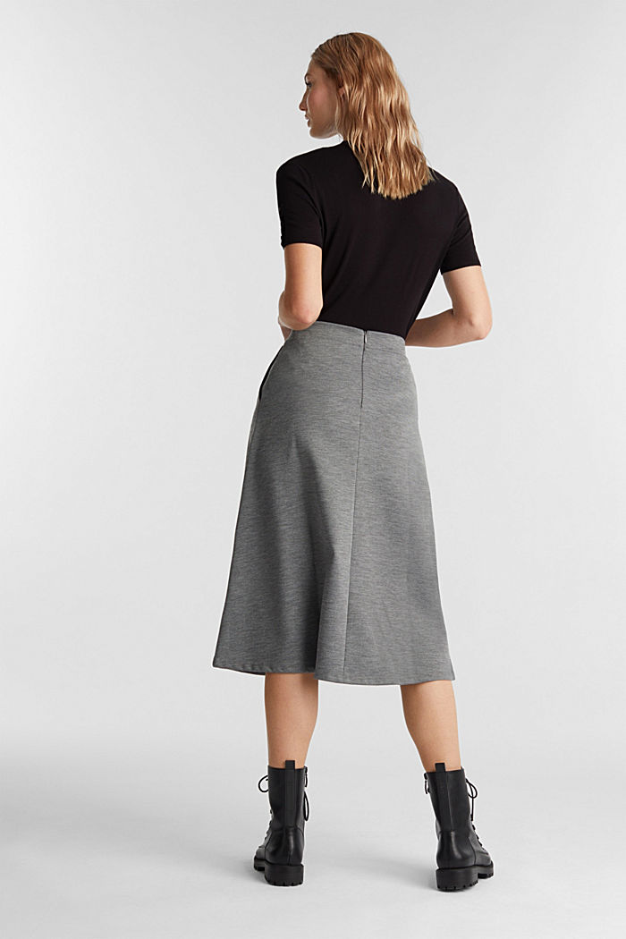 Jersey skirt with stretch for comfort, GUNMETAL, detail image number 3